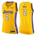 Camiseta Mujer Los Angeles Lakers Nike Icon Lonzo Ball #2 2017-18 Amarillo