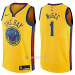 Camiseta Golden State Warriors Javale Mcgee #1 Chinese Heritage Ciudad 2017-18 Amarillo