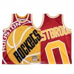 Camiseta Houston Rockets Russell Westbrook #0 Mitchell & Ness Big Face Rojo