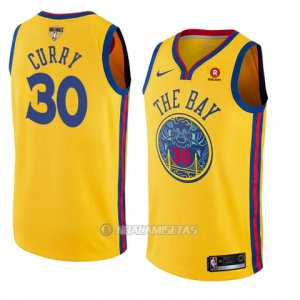 Camiseta Golden State Warriors Stephen Curry #30 Ciudad 2017-18 Oro