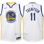 Camiseta Nino Golden State Warriors Klay Thompson #11 2017-18 Blanco