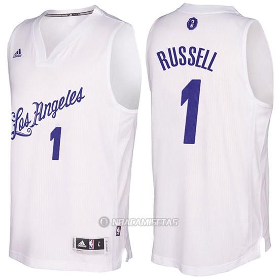 742057ec8 Camiseta Navidad Los Angeles Lakers D Angelo Russell  1 Blanco ...