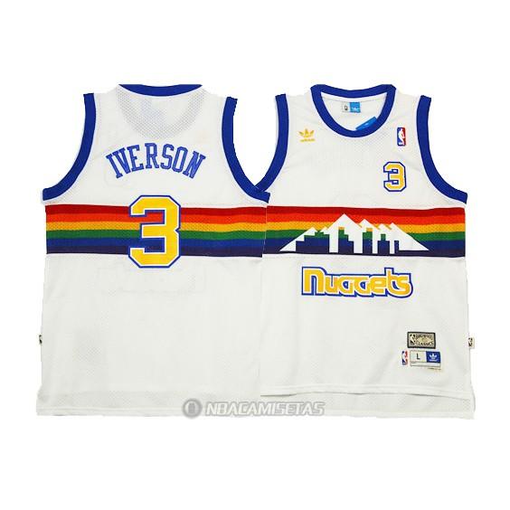Camiseta Retro Denver Nuggets Iverson  3 Blanco  KKK1262  - €22.00 ... 9a9451909a1