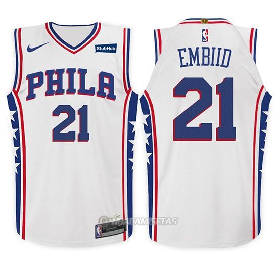 Camiseta Nino Philadelphia 76ers Joel Embiid Association  21 2017 18 Blanco 8329721eff1