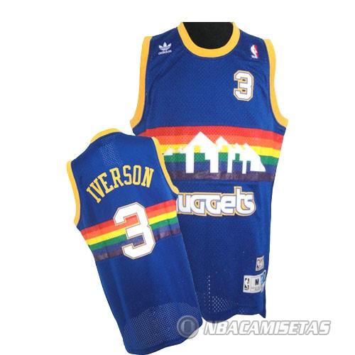 Nuggets X Rockets: Camiseta Azul Iverson Denver Nuggets Revolution 30